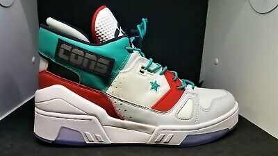Converse Mens ERX 260 High Top White Turbo Green Red Leather Sneakers 165077C