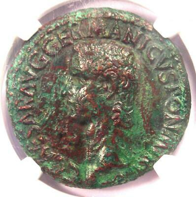 Ancient Roman Caligula AE As Vesta Coin 37-41 AD - Certified NGC XF (EF)