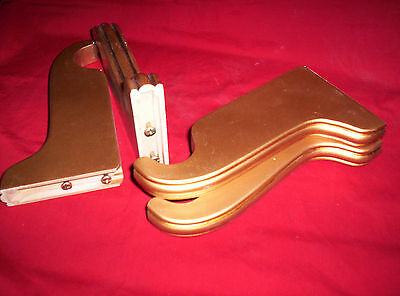 """4 Wooden Curtain BRACKETS. GOLDEN 7"""" Projection for 1-1/4"""" diam ROD. 2 NEW PAIRS"""