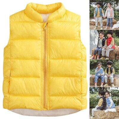 Kids Boys Girls Vest Bodywarmer Gilet Waistcoat Baby Light Jacket Outwear Coat