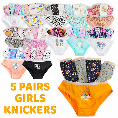 Girls Briefs 5 Pairs Underwear 100% Cotton Pants Rainbow Knickers Age 7-13 Years