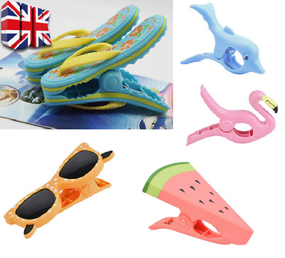 2pcs Plastic Sun Lounger Beach Towel Wind Clips Sunbed Pegs Pool Towel Clips UK