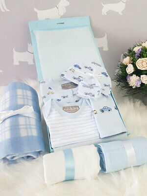 PERSONALISED 'Vehicles' New Baby Boy Gift Hamper, Baby Shower Present