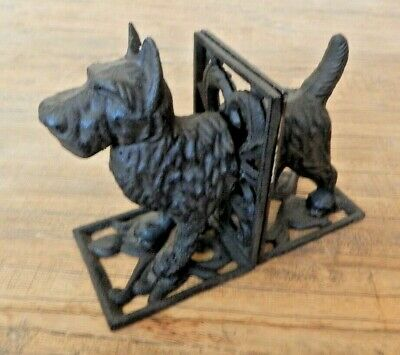 Cast iron bookends SCOTTIE DOG Antique rustic style Book ends West highland dog