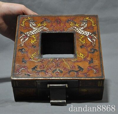 "8""Old Chinese lacquerware wood deer Sika Deer statue Jewelry Box storage boxes A"