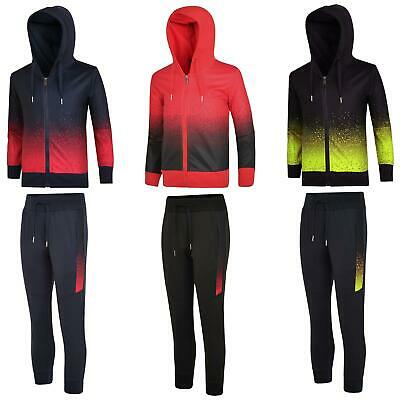 Kids Pixel Dot Print Tracksuit Hooded Jumper Top Boy Girl Jogging Bottoms 3-14 Y