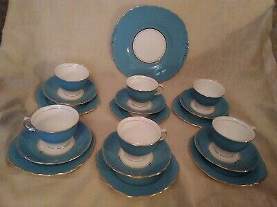 Colclough Harlequin Ballet Bone China 19 Piece  Afternoon Tea Set  for 6 - Blue