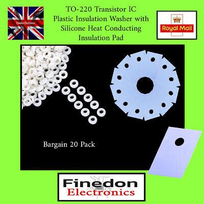 20 Qty TO-220 Transistor IC Insulation Washer with Heat Conducting Pad UK Seller