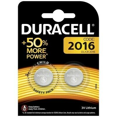 2 X Duracell CR2016 3V Lithium Button Battery Coin Cell DL/CR 2016 Expiry 2028