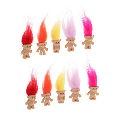 Set of 10 Troll Dolls Mini Dollhouse Party Favor Cute Kids Collectible Toys