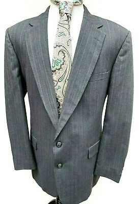 Stafford Mens Gray Pinstripe Suit Size 48 XT 38W Wool Polyester USA Two Button