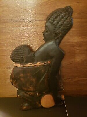"""Wooden Hand Carved in GHANA African Tribal Vintage Woman Tall  21"""" Art wall hang"""