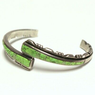 Lime Green Turquoise Sterling Silver Bracelet 20.9g Indian Made (GO1032840)