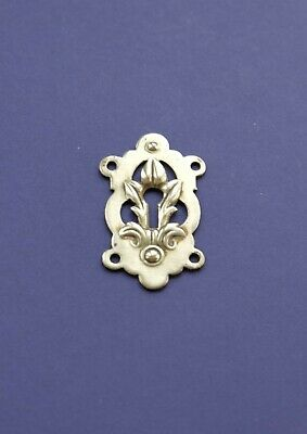 "LEAF DESIGN brass cabinet furniture cupboard keyhole ESCUTCHEON, 2"" x 1 1/16"""