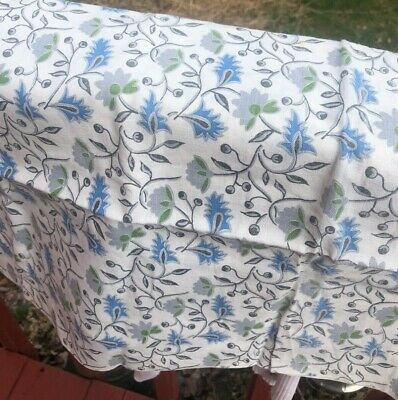 """Vintage Full Feed Sack, blue l& gray leaves, quilting fabric 36x44"""" great color"""