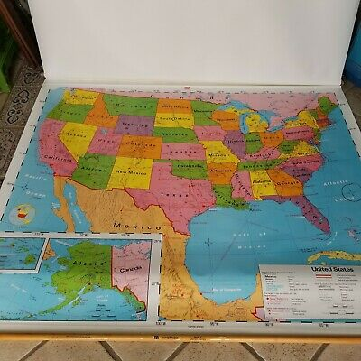 1990's Nystrom Pull Down United States AND World Markable School Map 68x68
