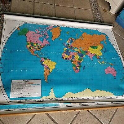 Nystrom Pull Down United States AND World Markable School Map Old Hanging Nice