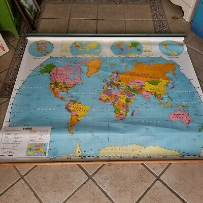 Nystrom Pull Down World School Map Old Hanging Nice Geography HOME Schooled