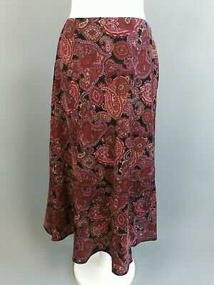 Vintage Penny Plain red pink paisley hippy 70s long casual maxi skirt size M
