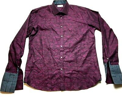 Ted Baker London Archive Mens Purple Floral French Cuffs Shirt Size 16.5