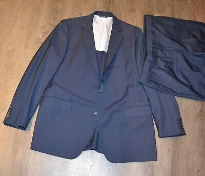 Brooks Brothers 1818 Fitzgerald Recent 44 Long L R Solid Navy Blue 2 Btn FF Pant