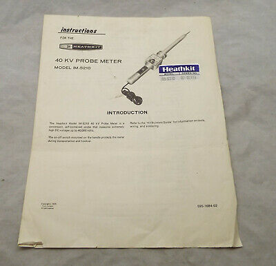 Instruction / Build Manual for Heathkit 40KV High Voltage Probe IM-5210