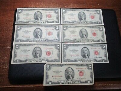 $2 Bills Red Seal Notes 1953 /& 1963 Well Circulated Two Dollar Lot of 50