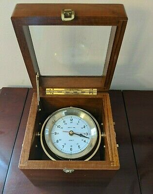 Vintage Quartz Ship's Time Marine Chronometer Ship Clock Navigation Wood Brass