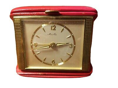 Art Deco Mauthe Germany Travel Alarm Clock Red Leather Case Working Glowing Hand
