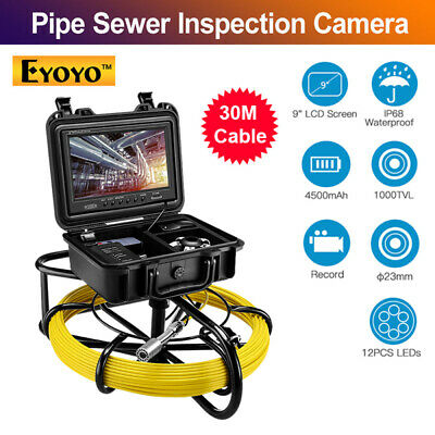 "Eyoyo 9"" 30M DVR Pipe Pipeline Inspection Camera Drain Snake System 1000TVL IP67"