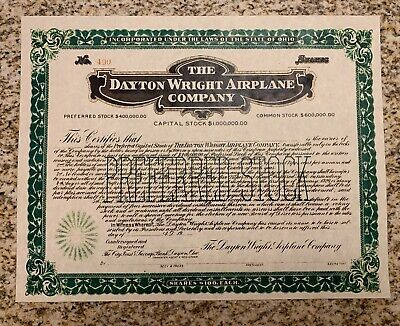 Dayton Wright Airplane Company Capitol Stock Certificate (See Description)