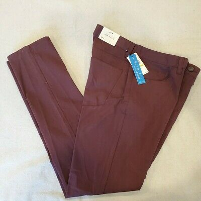 Perry Ellis Portfolio Pants Size 30x32 Burgundy Slim Fit Slim Leg Mens New