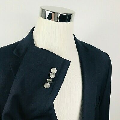 Michael Kors Mens 50R Blazer Dark Navy Silver Two Button Lined Vented Wool Blend