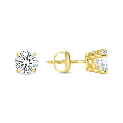 1 Ct Round Earrings Studs Solid 14K Yellow Gold Brilliant Cut Screw Back Basket