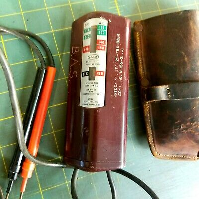 Vintage Ideal Industries Voltage Tester W/ Leather pouch