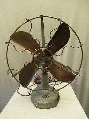 Antique Ecrole Marelli Table Fan Oscillating With  Wrought Brass Blades Italy *