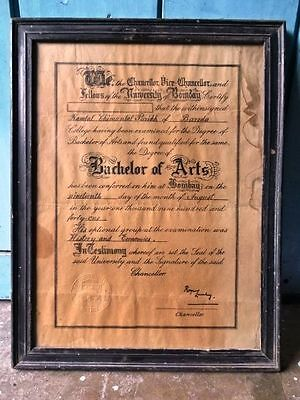 Old Very Rare Vintage The Degree Of Bachelor Of Arts Bombay 19-8-1941 Genuine