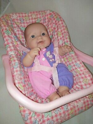 "Vinyl BERENGUER Baby Doll 35cm/14"" Gorgeous Baby in Carrier Blue Eyes"