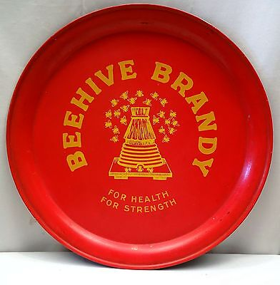 Vintage Beehive Brandy Advertising Serving Tray Red Collectibles Distillery Old