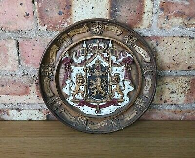 Vintage Wooden Hand Carved Belgium Coat of Arm The Decorative Wall Plate