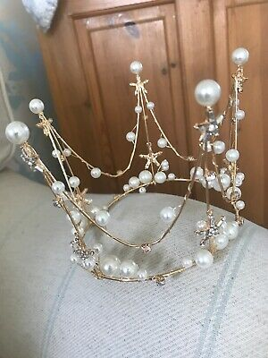 Small Gold / Pearl Crown . Cake Topper Crown. Child / Baby Photo Shoot Crown