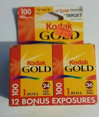 Kodak Gold 100 35mm Film Target 2 Pack 60 Exposures Color Prints Exp2001 Sealed
