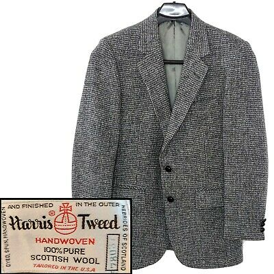 Vintage HARRIS TWEED 38 R Scottish Wool Sports Coat Blazer Jacket Brown Gray