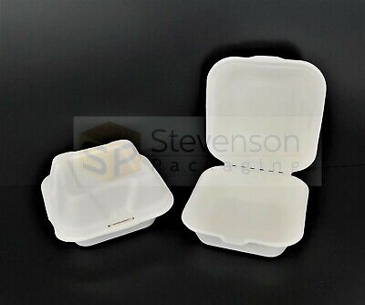 White Biodegradable burger box clamshell compostable food takeaway x125 & x500