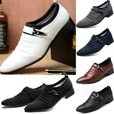 Mens Faux Leather Shoes  Italian Smart Formal Wedding Office Party Shoes Size Uk