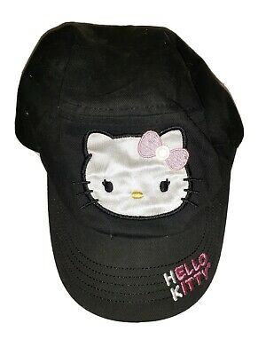 NWT Girls Juniors Teens Hello Kitty Cadet Style Black Pink Glitter Peace Sign