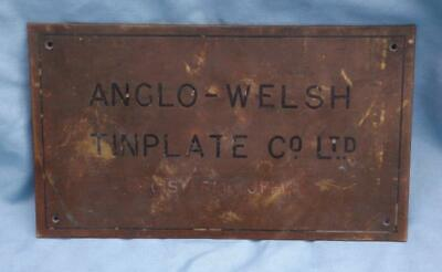 Anglo Welsh Tinplate Co Ltd Genuine Vintage Brass Wall Sign Plaque