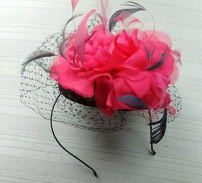 Lovely JACQUES VERT dark purple and hot pink fascinator (please see description)