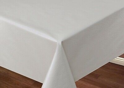 PVC Plastic Oil Vinyl Table Cloth Plain Off White Leather Look Effect Wipe Clean