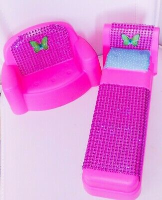 Barbie Pink Doll Furniture. Pink Bed and Pink Couch. OOAK Vintage Looking.